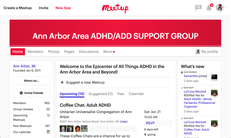 "An ""Ann Arbor Area ADHD/ADD Support Group"" Meetup event."